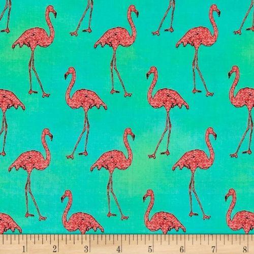 Flamingos Beach Divas Cabana Green Aqua Pink Flamingo Bird Tropical Cotton