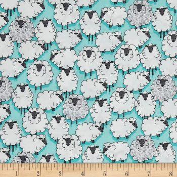 Sheep Sheepish Aqua Eyes on Ewe Turquoise Farm Animal Cotton Fabric