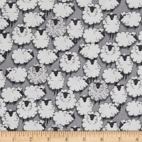 Sheep Sheepish Grey Eyes on Ewe Gray Farm Animal Cotton Fabric