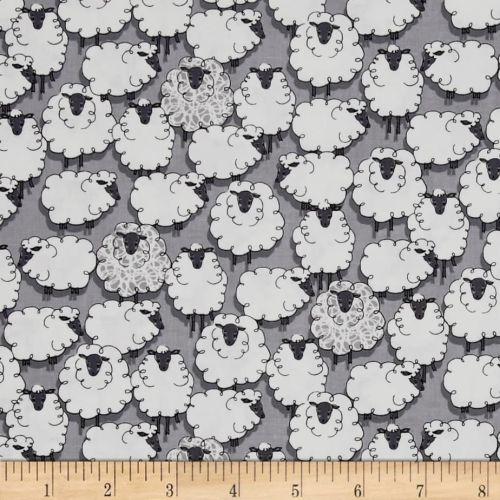 Sheep Sheepish Grey Eyes on Ewe Gray Farm Animal Cotton Fabric