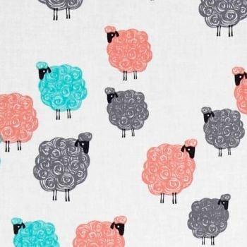 Sheep Baa Baa Baby Geranium Eyes on Ewe Farm Animal Cotton Fabric