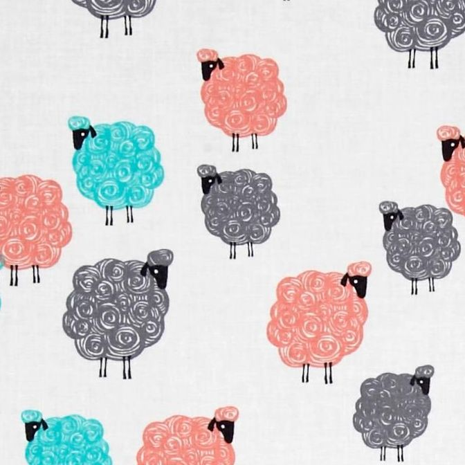 Sheep Baa Baa Baby Geranium Eyes on Ewe Farm Animal Cotton Fabric