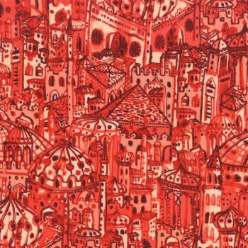 Michael Miller Peacock Pavilion Istanbul Coral Travel City Building Turkey Cotton Fabric