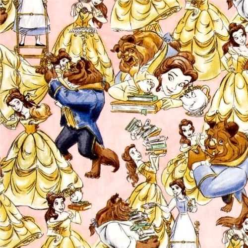 Disney Princess Beauty and the Beast Belle Sketch Dancing Cotton Fabric