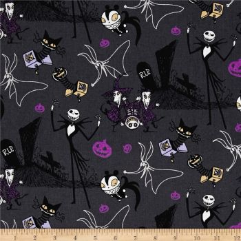 REMNANT Disney Nightmare Before Christmas Jack in the Boxes Grey Cotton Fabric