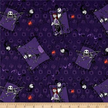 REMNANT Disney Nightmare Before Christmas Couple Purple Cotton Fabric