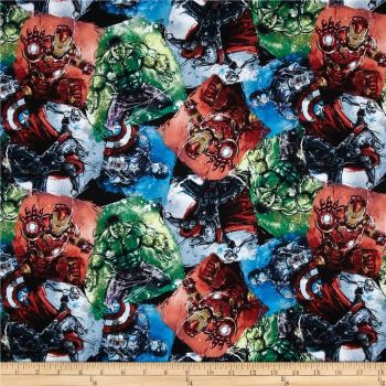 REMNANT Marvel Superhero Avengers Character Sketch Thor Hulk Captain America Iron Man on Black Cotton Fabric