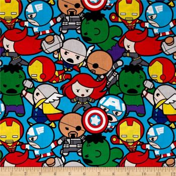REMNANT Marvel Avengers Superhero Kawaii Superheroes All In The Pack Character Cotton Fabric