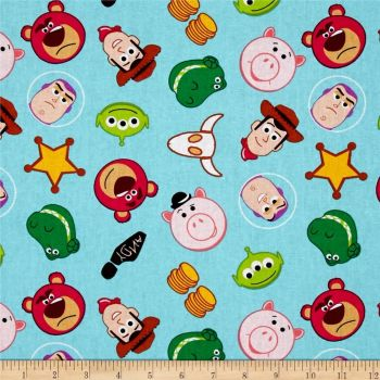 REMNANT Toy Story Disney Emojiland Woody Buzz Lightyear Cotton Fabric
