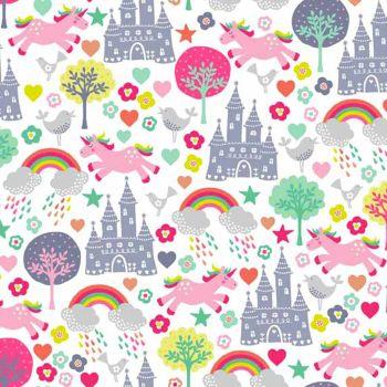 REMNANT Fantasy Unicorns Rainbows Princess Castle Stars Hearts Trees Birds Scenic on White Unicorn Rainbow Cotton Fabric