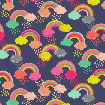 REMNANT Fantasy Multi Coloured Rainbows Rainclouds Clouds Raindrops on Navy Blue Unicorn Rainbow Colour Rain Drops Cotton Fabric