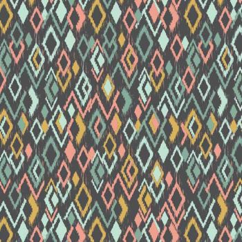REMNANT Ikat Diamonds Retro Modern Print Sophia Cotton Fabric by Makower