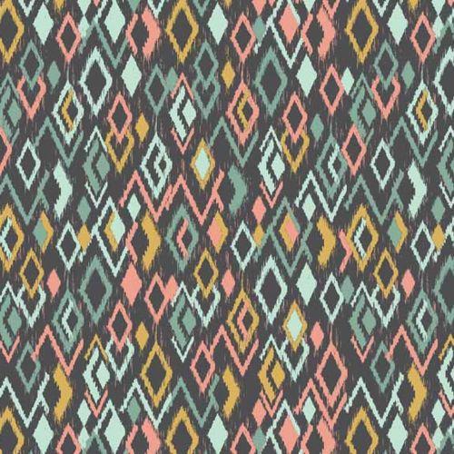 REMNANT Ikat Diamonds Retro Modern Print Sophia Cotton Fabric by Makower