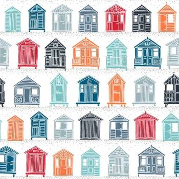 Marina Beach Huts on White Seaside Cotton Fabric
