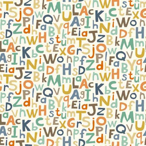 Baby Jungle Alphabet Letters Scatter ABC on Cream Nursery Cotton Fabric