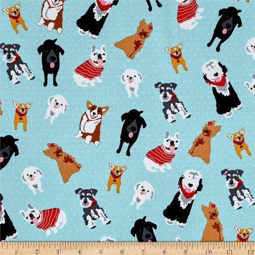 Must Love Dogs Dog Lover Dogs Breeds on Dots Aqua Blue Cotton Fabric