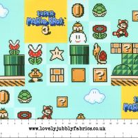 Nintendo Super Mario Brothers 3 Game Scenes Gamers Video Game Cotton Fabric