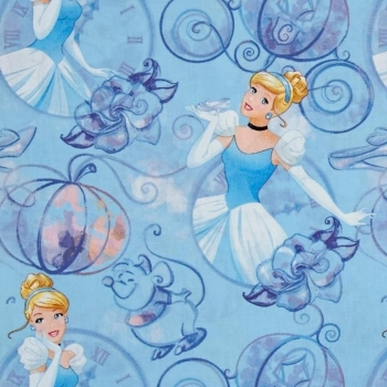 Disney Princess Cinderella Clock and Carriage Blue Cotton Fabric