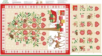 Advent Calendar Christmas DIY Panel Traditional Festive Project Cotton Fabric by Makower per panel