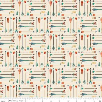 REMNANT High Adventure Arrows on Cream Arrow Feather Cotton Fabric