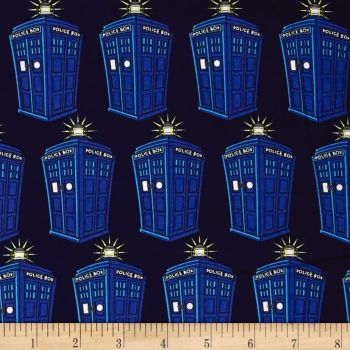 REMNANT Doctor Who Tardis Comics Police Public Call Box BBC Geek Cotton Fabric