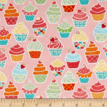 REMNANT Kitchen Love Made With Love Cupcake Baking Cake Sweet Treat Pink Cotton Fabric