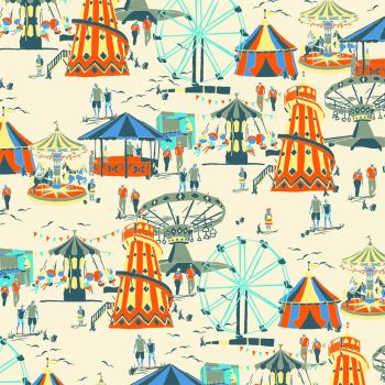 Fun Fair Seaside Helter Skelter Ferris Wheel Circus Tent Fairground Carousel Cotton Fabric