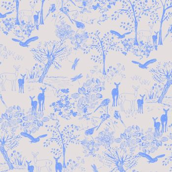 Deer in the Forest Woodland Scene Animal Blue on Pink Beige Cream Scenic Cotton Fabric