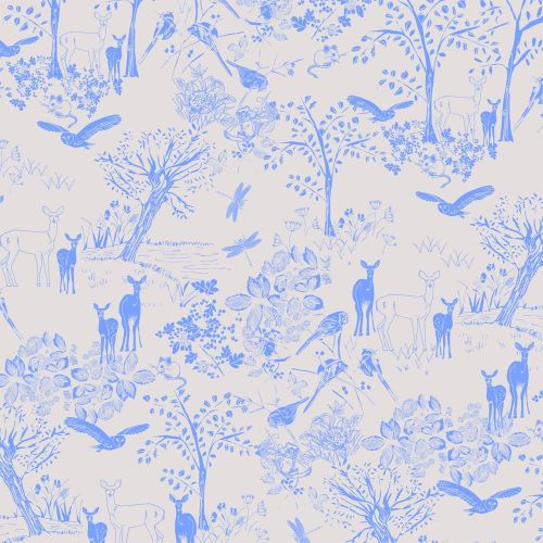 Deer in the Forest Woodland Scene Animal Blue on Pink Beige Cream Scenic Co