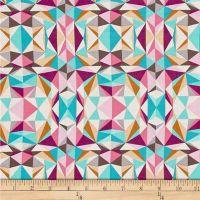 Modernist Prismatic Pink Geometric Triangles Crystalline Cotton Fabric