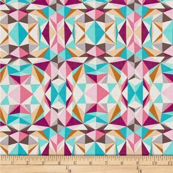 Modernist Prismatic Pink Geometric Triangles Crystalline Cotton Fabric