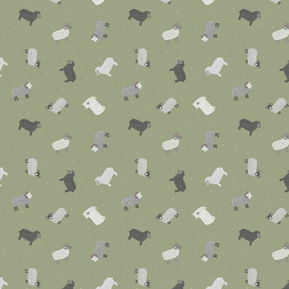 Sheep on Green Small Things On The Farm Animal Cotton Fabric