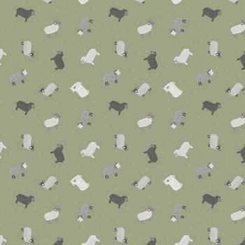 Tiny Sheep on Green Small Things On The Farm Animal Cotton Fabric