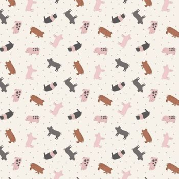 Tiny Pig Piglet Breeds Farmyard Small Things On The Farm Pigs Animal Cotton Fabric