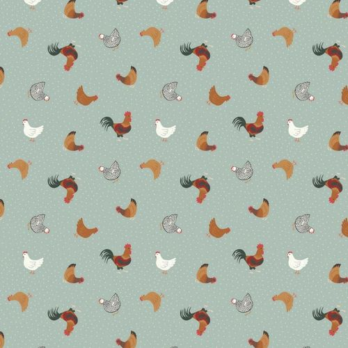 Tiny Hens Chickens Duck Egg Blue Small Things On The Farm Animal Cotton Fab