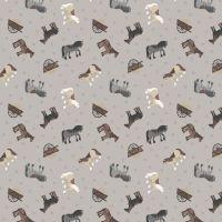Tiny Horses on Grey Horseshoe Small Things On The Farm Horse Animal Cotton Fabric