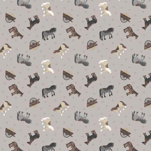 Tiny Horses on Grey Horseshoe Small Things On The Farm Horse Animal Cotton