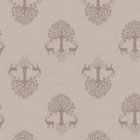 Tree of Life Linen Beige Silhouette Stag Deer Woodland Celtic Blessings Cotton Fabric