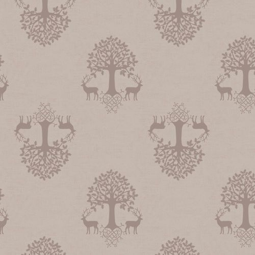 Tree of Life Linen Beige Silhouette Stag Deer Woodland Celtic Blessings Cot