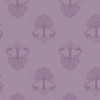 Tree of Life Heather Lilac Purple Silhouette Stag Deer Woodland Celtic Blessings Cotton Fabric