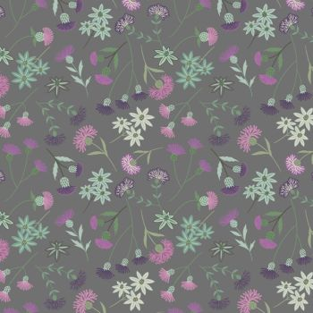 Thistle Floral on Grey Scottish Botanical Cotton Fabric