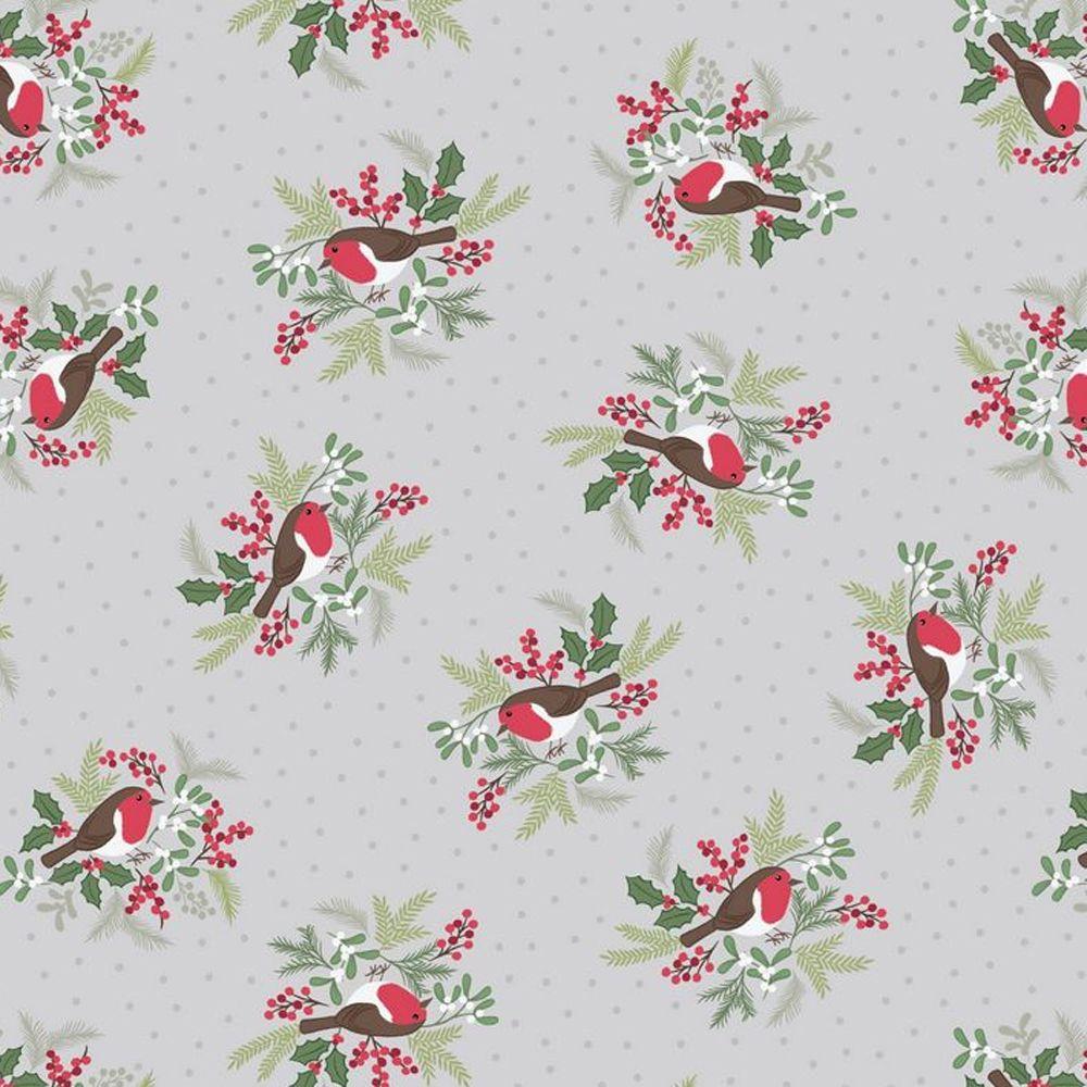 Robins on Silver Grey Holly Mistletoe Holiday Winter Christmas Cotton Fabri