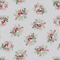 Robins on Silver Grey Holly Mistletoe Holiday Winter Christmas Cotton Fabric