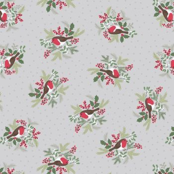 Robins on Silver Grey Holly Mistletoe Holiday Winter Christmas Cotton Fabric