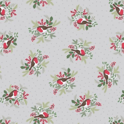 Robins on Silver Grey Holly Mistletoe Holiday Winter Christmas Cotton Fabri