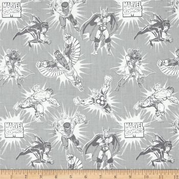 Marvel Comics Tonal Grey Superhero Avengers Thor Hulk Falcon Luke Cage Hawk-Eye Nova Cotton Fabric