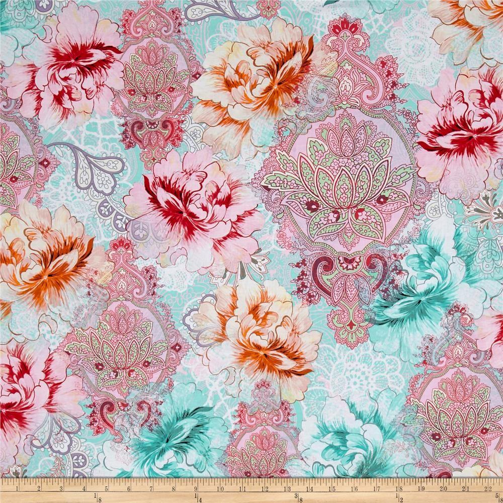Michael Miller Flower Burst Sorbet Floral Mandala Paisley Botanical Cotton