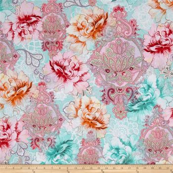 Michael Miller Flower Burst Sorbet Floral Mandala Paisley Botanical Cotton Fabric