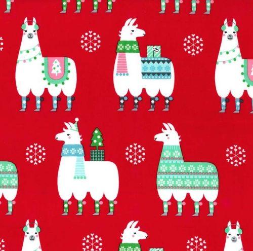 Llama Navidad Christmas Festive Winter Sweater Red Llamas Snowflakes Michae