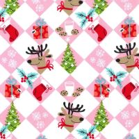 REMNANT Holiday Row Tinsel Tiles Christmas Festive Winter Reindeer Gifts Trees Snowflakes Michael Miller Cotton Fabric
